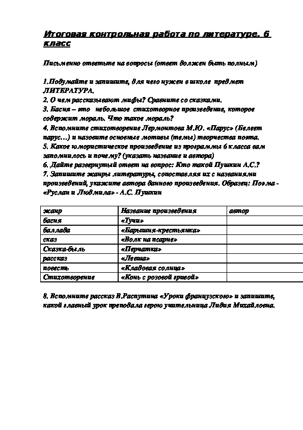 ТЕСТ ПО ЛИТЕРАТУРЕ 6 КЛАСС