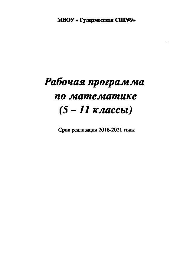 Рабочая программа  по математике (5 – 11 классы)