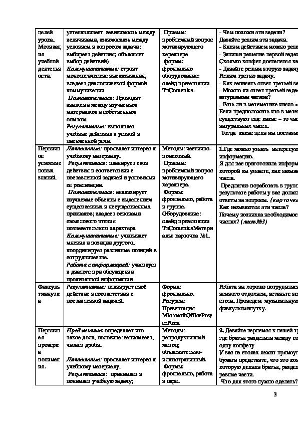 """Технологическая карта урока """"Знакомство с понятием «Дробное число»"""" 3 класс"""