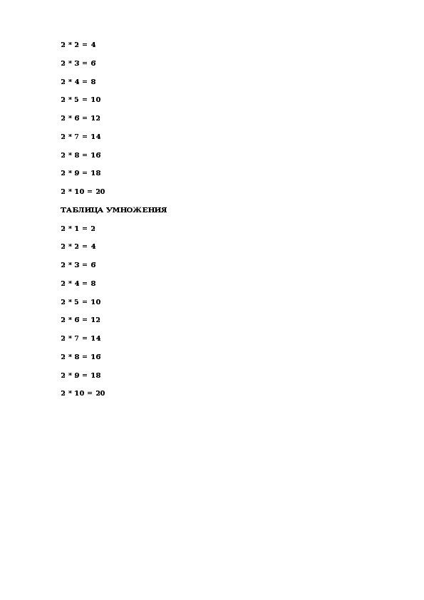 """Конспект урока по математике на тему """"Умножение и деление на 2""""  2 класс"""