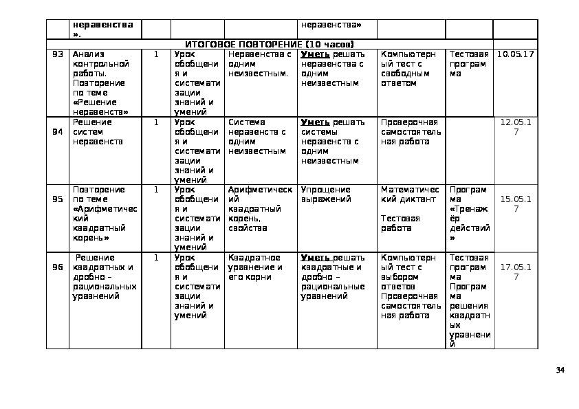 Рабочая программа по алгебре. 8 класс.