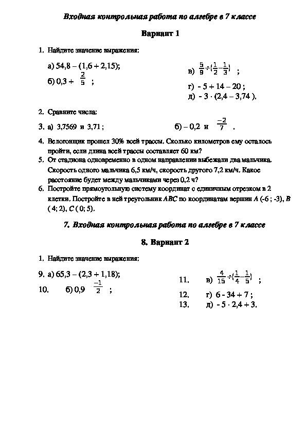 Спецификация входной контрольной работы по математике в 7 классе