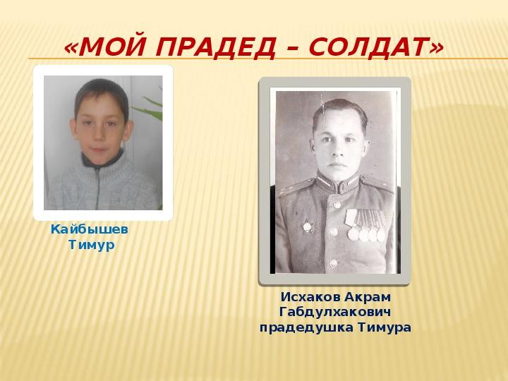 Проект на тему «Мой прадед был солдатом»