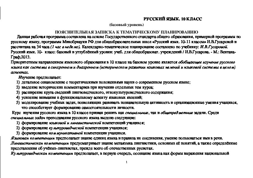 Рабочая программа по русскому языку (10 класс)