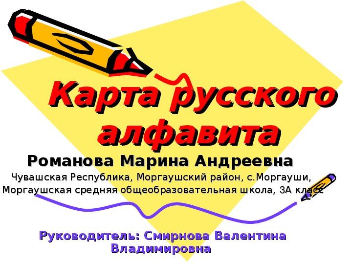 Презентация карта русского алфавита