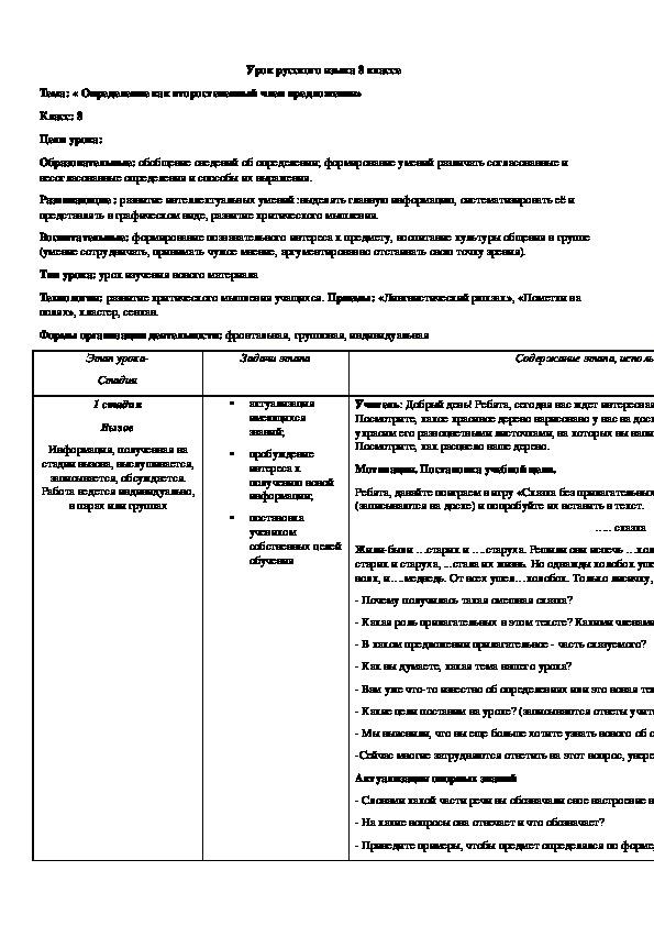Конспект урока по русскому языку на тему,,Определение и его виды,,8 класс