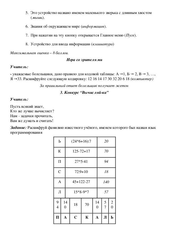 Внеклассное мероприятие по информатике для 7 классов