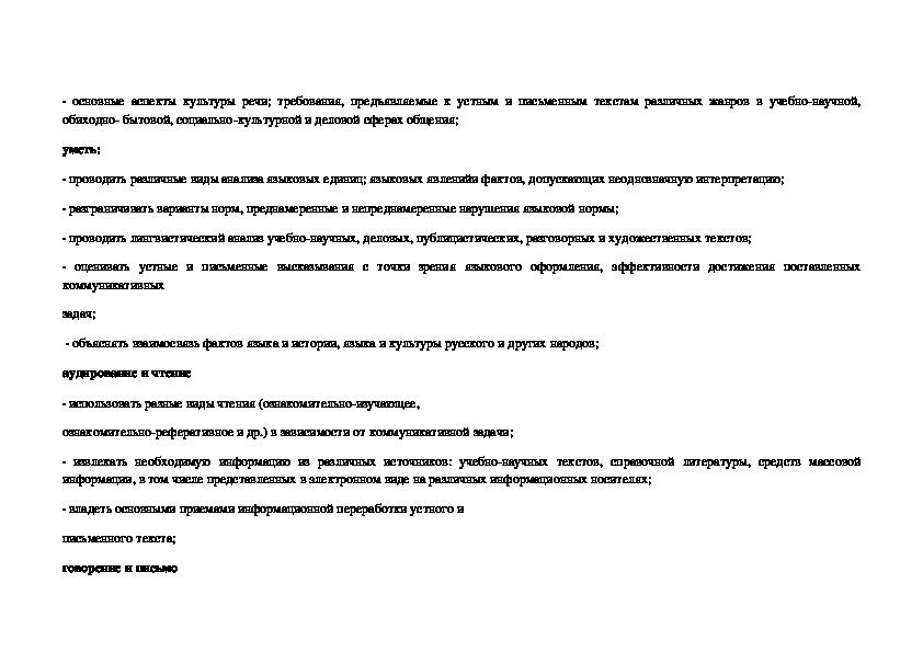 Рабочая программа по русскому языку для 10-11 класса