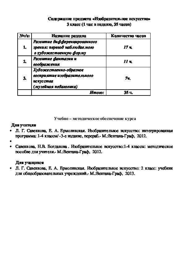 "КТП 3 класс ""Начальная школа 21 века"""