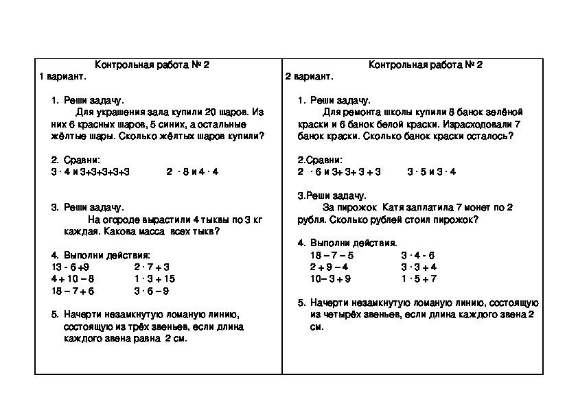 """Текст контрольной работы по математике (2 класс, УМК """"Перспектива"""")"""