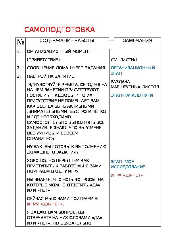 """Конспект-""""Самоподготовка в коррекционной школе 8 вида"""" (9 класс)"""
