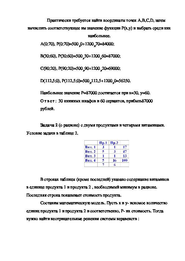 Задачи линейного программирования. Математика . 9 класс
