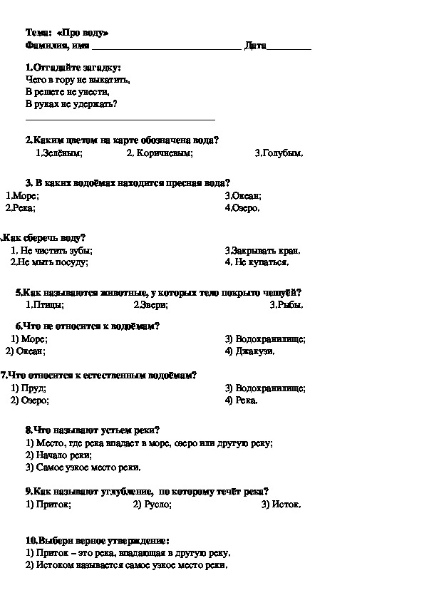 """Тест по теме """"Водоёмы"""""""