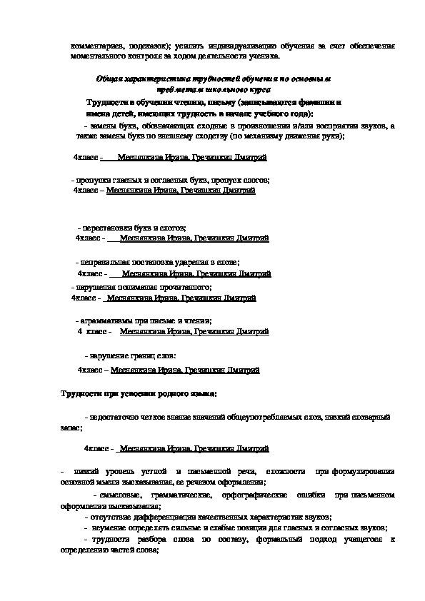 Программа коррекционной работы (4 класс)