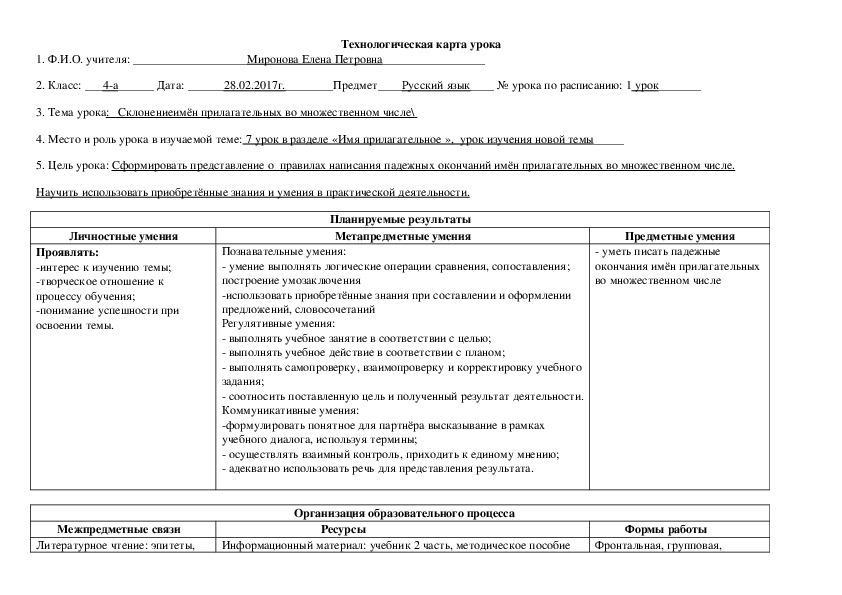Разработка урока русского языка