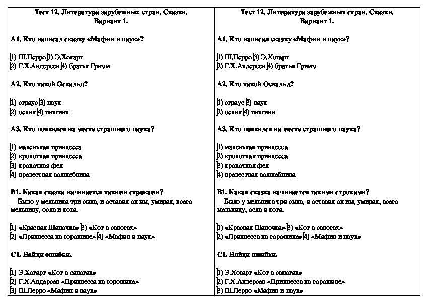 Тест 12. Литература зарубежных стран. Сказки. Вариант 1. 2 класс. Чтение.