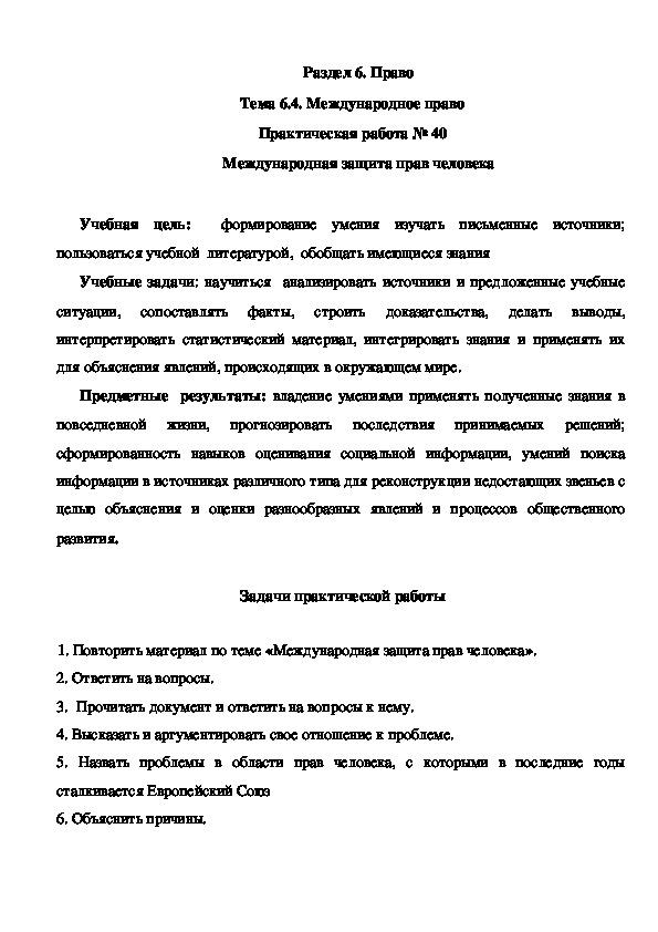 Практическая работа № 40 Международная защита прав человека
