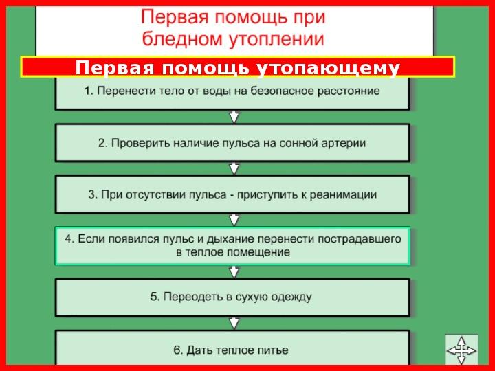 """Презентация урока по ОБЖ на тему: """"Первая медицинская  помощь при утоплении"""".  (8 класс)"""