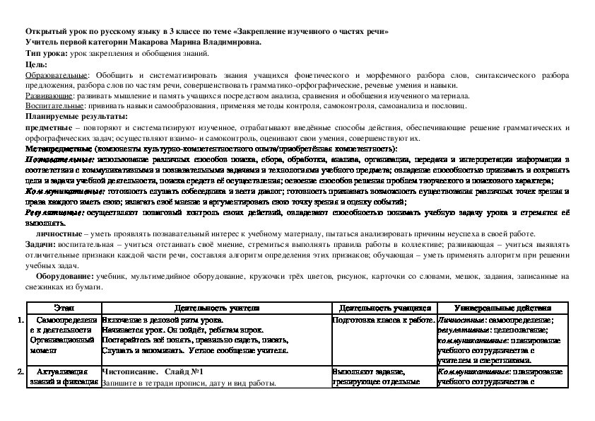 Урок по русскому языку в 3 классе по теме «Закрепление изученного о частях речи»