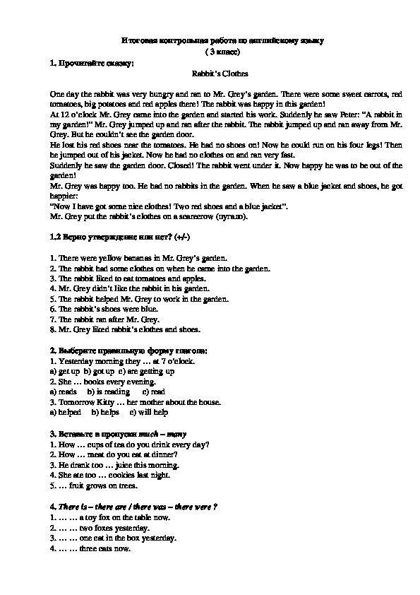 Итоговая контрольная работа (3 класс, английский язык)
