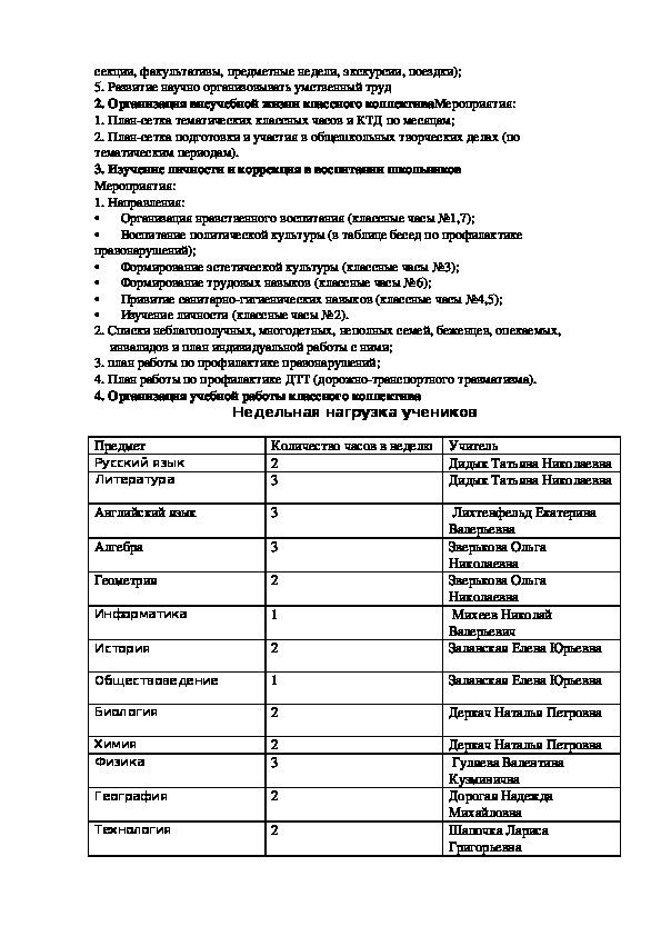План воспитательной работы 11 класса  на 2018-2019г. г