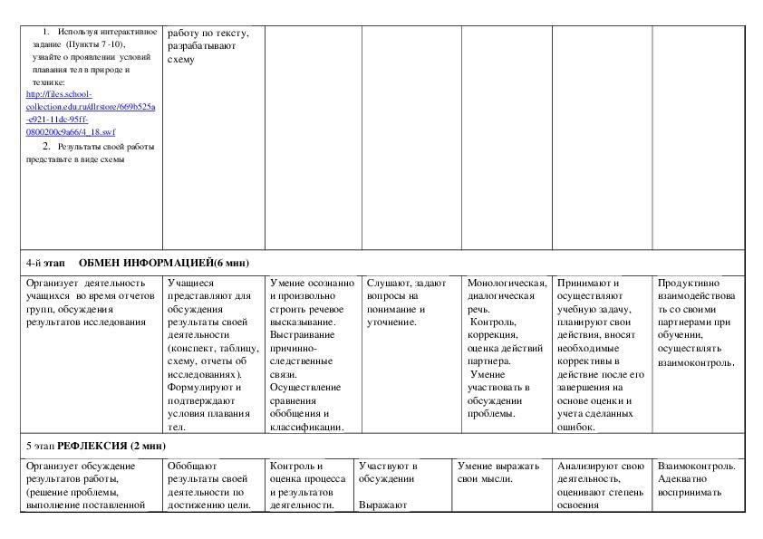 """План-конструктор урока """"Плавание тел"""" по учебнику «Физика 7 класса»,  автор: А.В.Перышкин"""