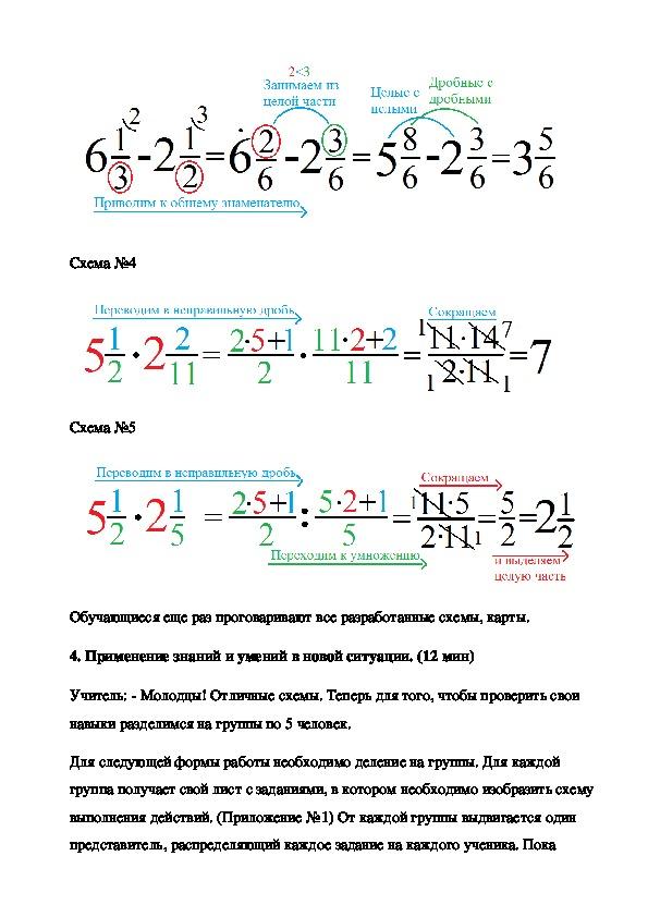 """План-конспект по математике """"Смешанные дроби"""""""