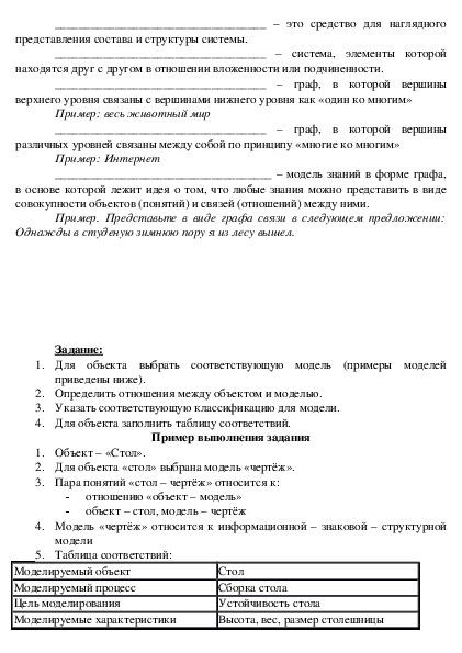 """Материал к уроку по теме """"Моделирование"""" (1 курс, Информатика и ИКТ)"""