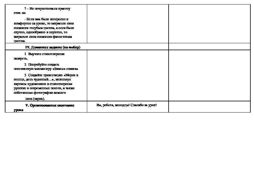"""Использование технологий критического мышления на уроках литературного чтения в 3 классе при изучении стихотворения  Ф. Ю. Тютчева """"Чарадейкою  Зимою.."""""""
