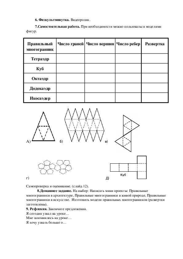 """Конспект урока, технологическая карта и презентация к уроку по теме """"Правильные многоранники"""" для учащихся 5 класса"""