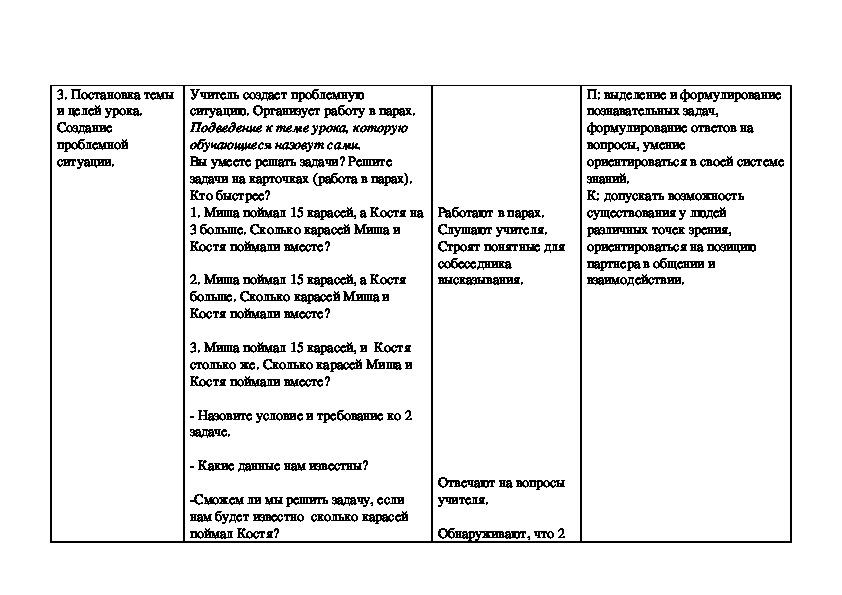 """Технологическая карта   урока по математике 3 класс УМК  ПНШ с презентацией """"Задачи с недостающими данными""""."""