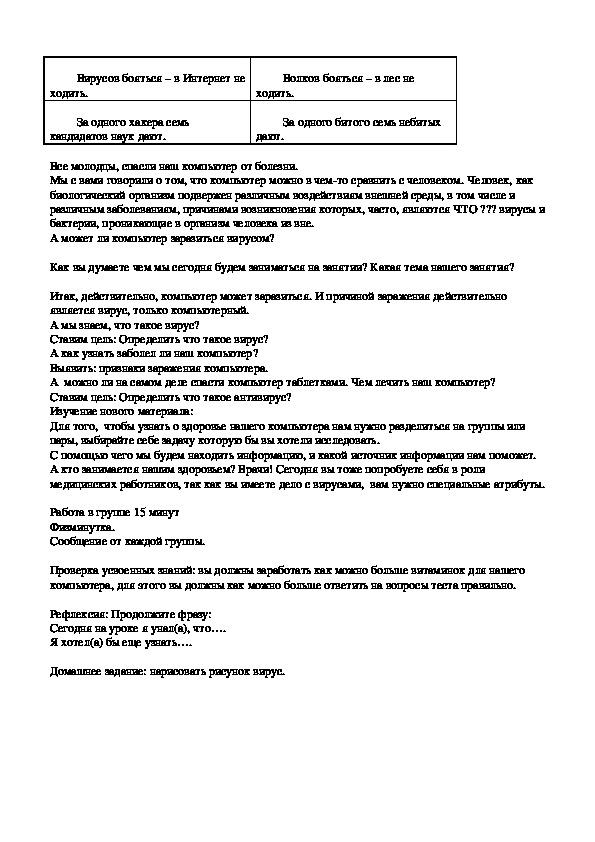 """Разработка внеурочного занятия по информатике """"Здоровье компьютера"""" 4 класс"""