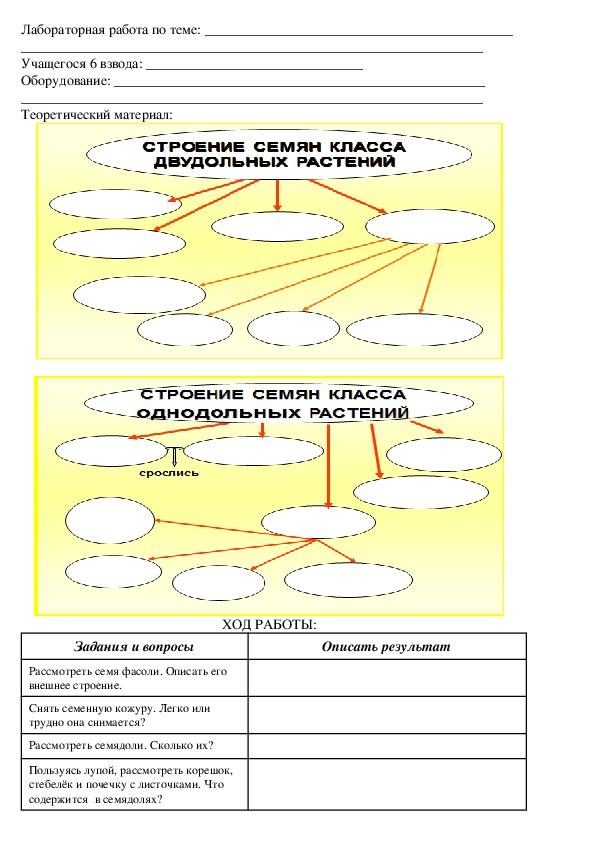"""Инструкционная карта для лабораторной работы по теме: """"Семена однодольных и двудольных растений"""""""