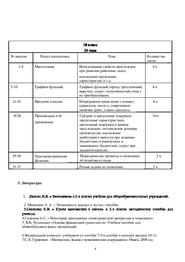 """Программа элективного курса """"Применение математических методов и моделей для решения задач экономического содержания"""" (8-10 класс)"""