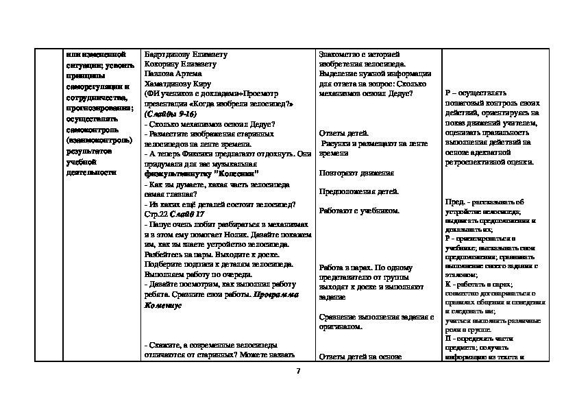 """Технологическая карта по окружающему миру """"Когда изобрели велосипед"""" 1 класс программа Школа России"""