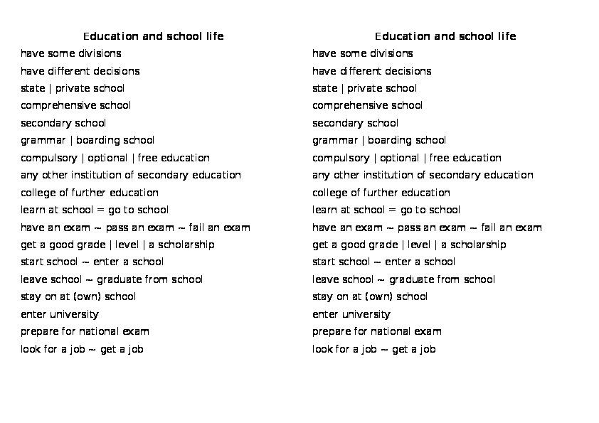 Презентация лексических единиц по теме Образование. Английский язык.