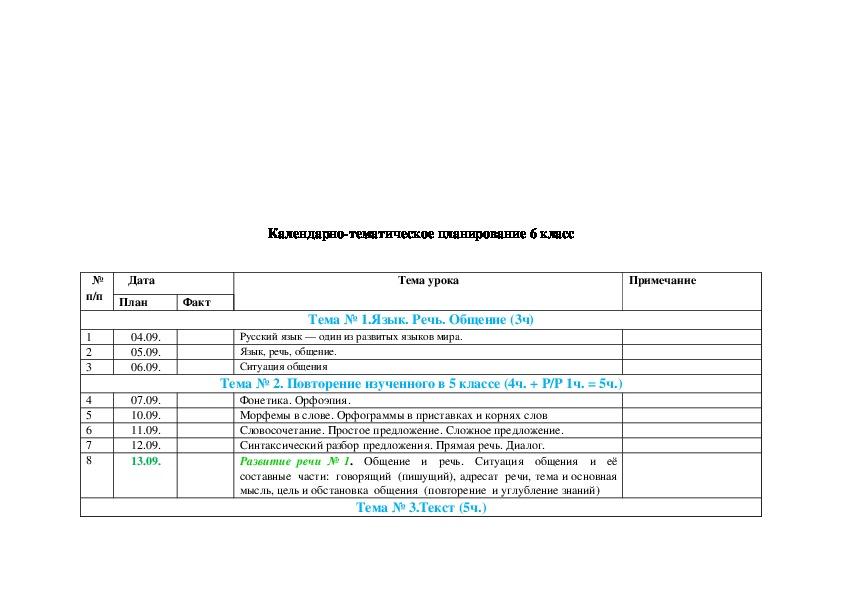 Календарно-тематическое планирование уроков русского языка в 6 классе