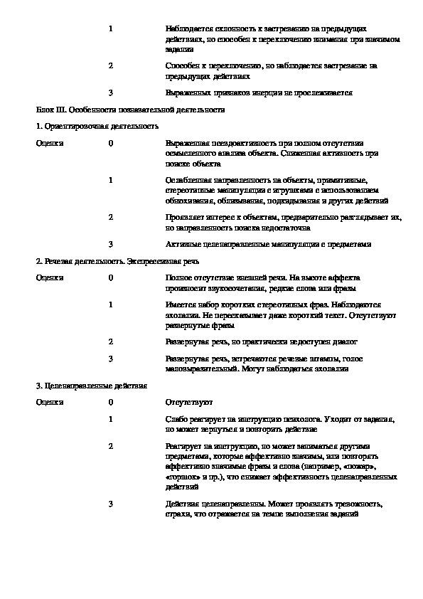 Схема наблюдения за ребенком с расстройством аутистического спектра (РАС)