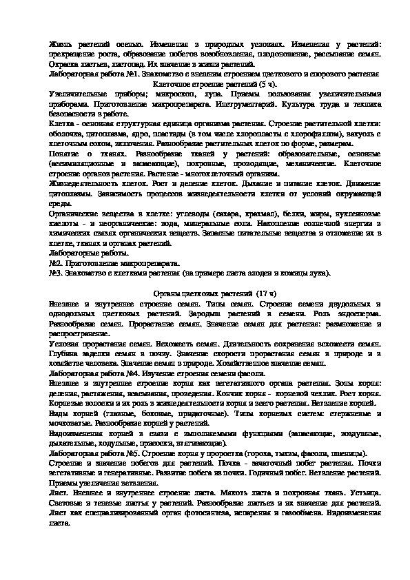 Рабочая программа учебного предмета «Биология» по ФК ГОС