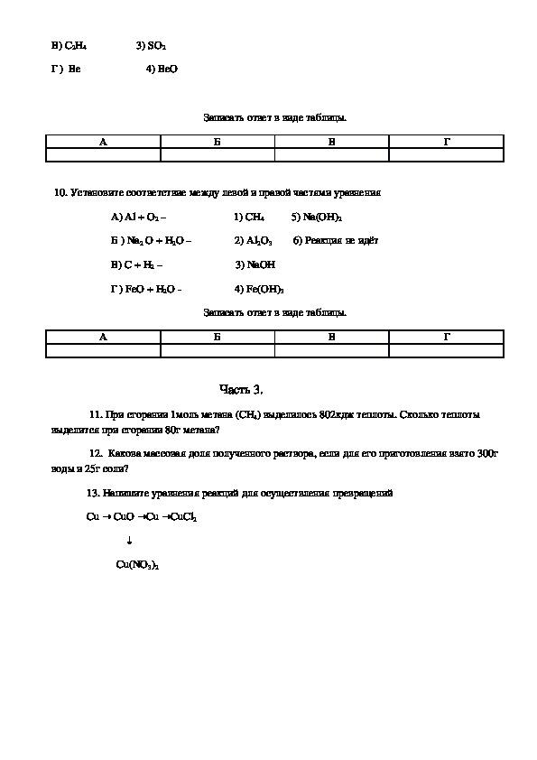 """Контрольная работа по химии по теме """"Кислород. Водород. Вода"""""""