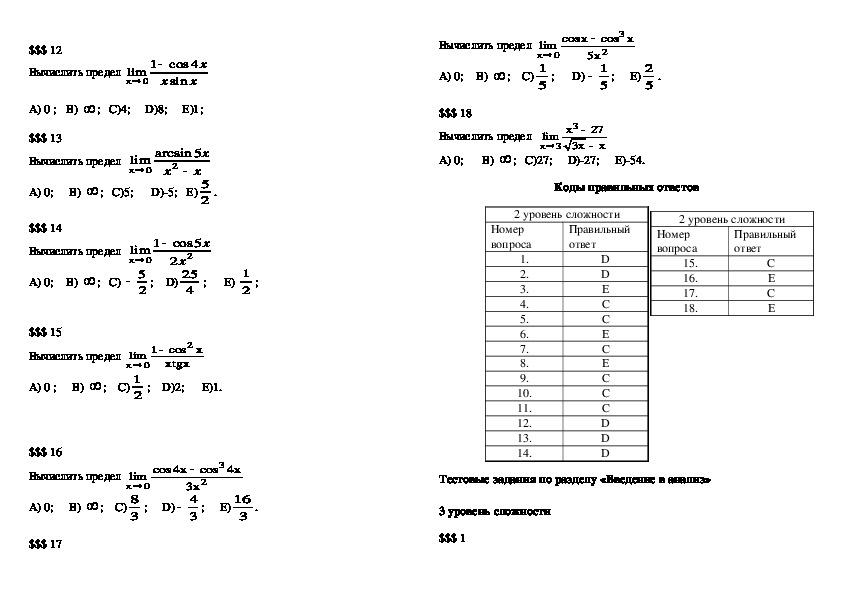 Тесты по разделу Предел функций