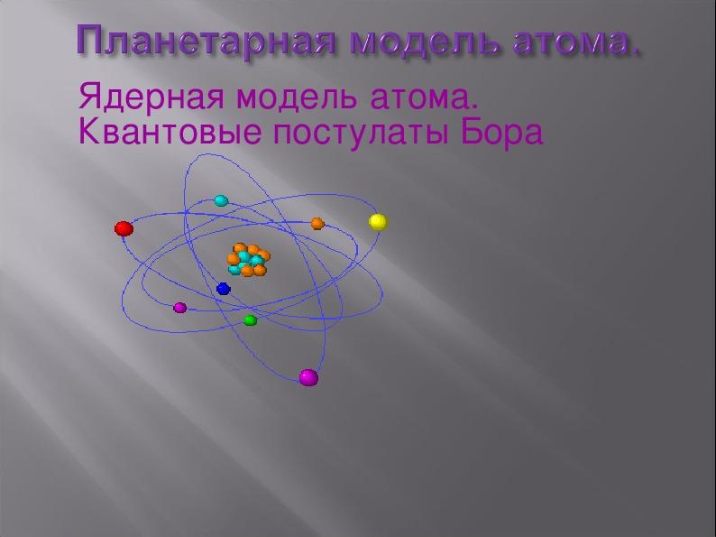 """Презентация на тему """"Модель атома.Квантовые постулаты Бора."""""""