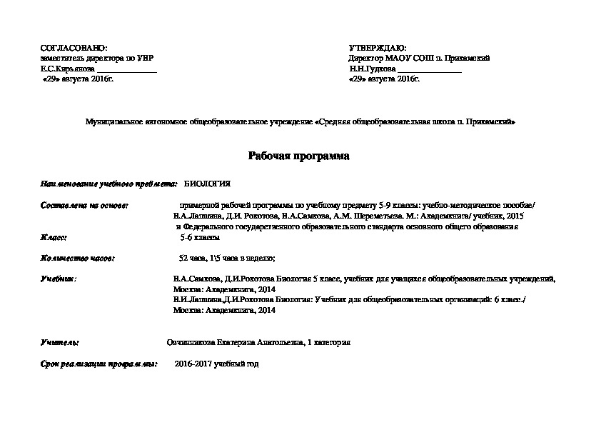 Рабочая программа по биологии 5 класса УМК В.А.Самкова, Д.И.Рокотова