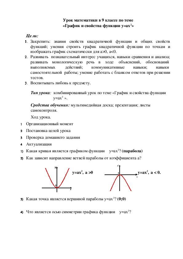 Урок математики в 9 классе по теме «График и свойства функции y=ax2»