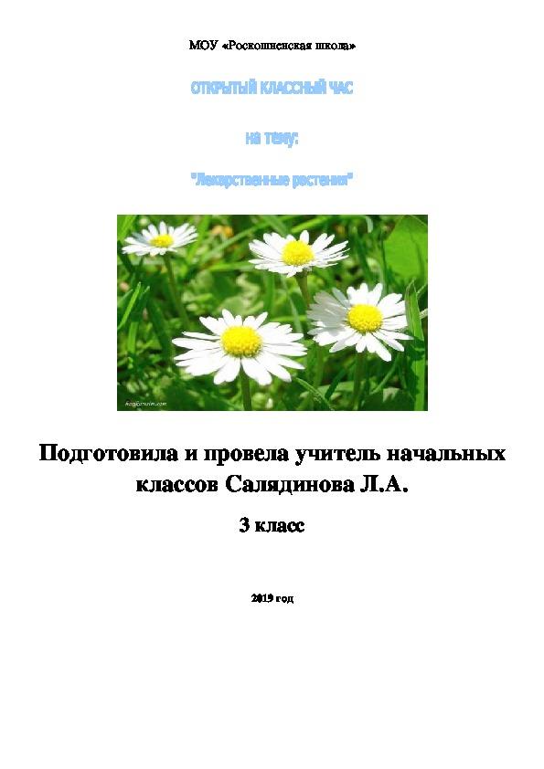 """Разработка классного часа по теме""""Лекарственные растения"""" 3 класс"""
