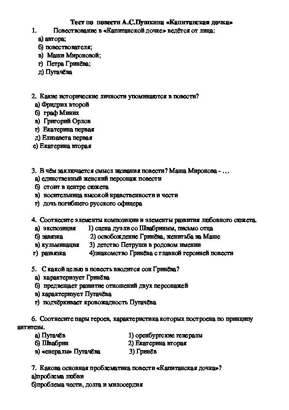 "Тест по произведению Пушкина ""Капитанская дочка"""