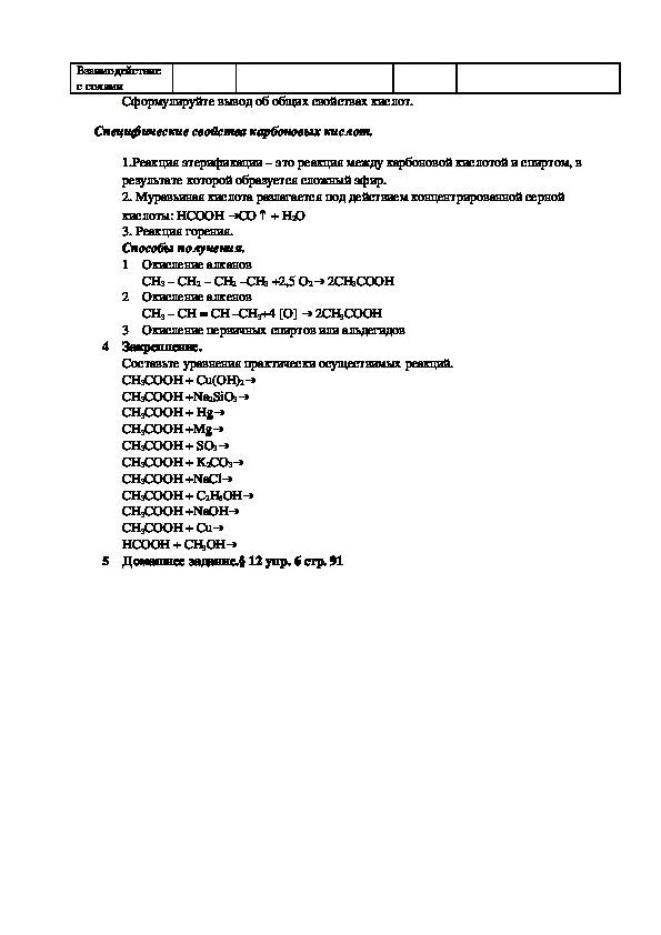 """Конспект урока """"Химические свойства карбоновых кислот"""" (10 класс, химия)"""