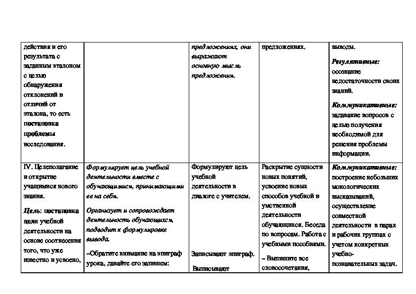 """Технологическая карта учебного занятия по русскому языку в 5 классе """"Разбор словосочетания"""""""