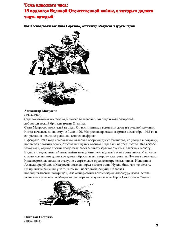 Тема классного часа: 15 подвигов Великой Отечественной войны, о которых должен знать каждый.
