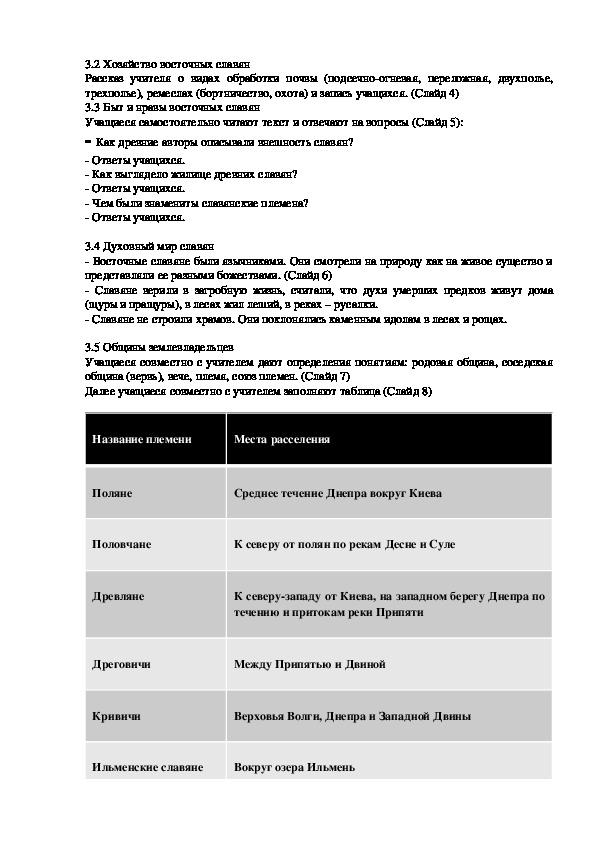 """Разработка урока по истории в 6 классе на тему """"Восточные славяне и их соседи"""" (6 класс)"""